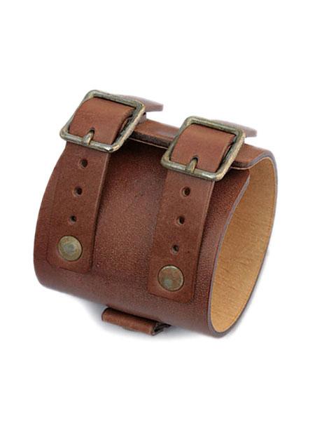【※ポイント5倍※】gbb custom leather(gbb カスタム レザー)JD Cuff Bracelet JD カフ ブレスレット (ヴィンテージブラウン) / レザー 革 ブラス ゴールド 真鍮 ブレス 茶色 バックル ベルト メンズ レディース【送料無料】