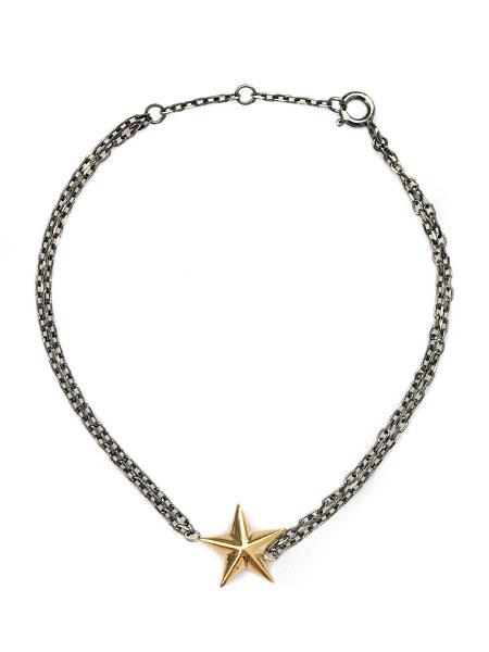 【※ポイント5倍※】TOMASZ DONOCIK (トーマス ドノチック) SILVER STAR BRACELET (GOLD × BLACK) / [BLT22 OS GS] シルバースターブレスレット ゴールド ブラック 星 チェーン メンズ レディース【送料無料】