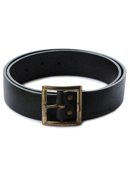 【※ポイント5倍※】gbb custom leather(gbb カスタム レザー)JD Belt ベルト (ブラック) / レザー バックル 革 黒 ブラス ゴールド 真鍮 メンズ レディース【送料無料】