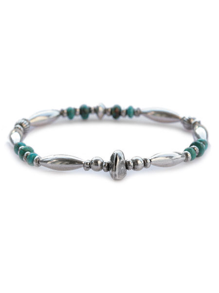 【※ポイント5倍※】SunKu(サンク・39)Pipe Beads Bracelet / [SK-073] パイプビーズブレスレット シルバー ターコイズ グリーン 緑 銀 天然石 宝石 メンズ レディース【送料無料】