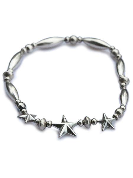 【※ポイント5倍※】SunKu(サンク・39)STAR BEADS BRACELET スター ビーズ ブレスレット シルバーパイプビーズ / [SK-140] ブレス 星 銀 天然石 宝石 メンズ レディース【送料無料】