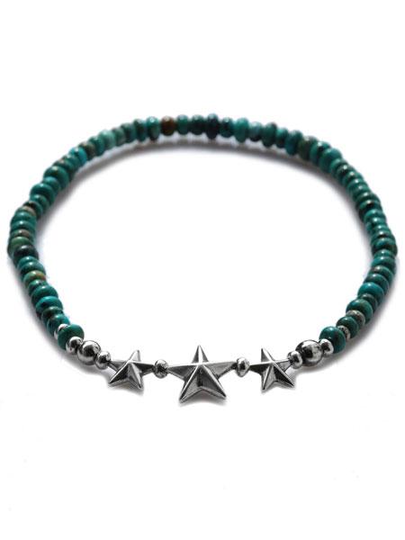SunKu(サンク・39)Star Beads Anklet Turquoise Beads スター ビーズ アンクレット ターコイズ ビーズ / [SK-144-TUQ] シルバー グリーン 星 天然石 緑 銀 宝石 メンズ レディース【送料無料】