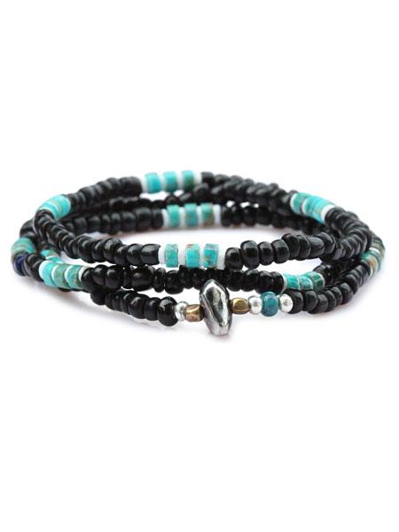 【※ポイント5倍※】SunKu(サンク・39)Antique Beads Necklace / [LTD-028] アンティークビーズネックレス ブラック 3連ブレスレット 2連アンクレット ペンダント シルバー ターコイズ グリーン 緑 銀 天然石 宝石 メンズ レディース【送料無料】