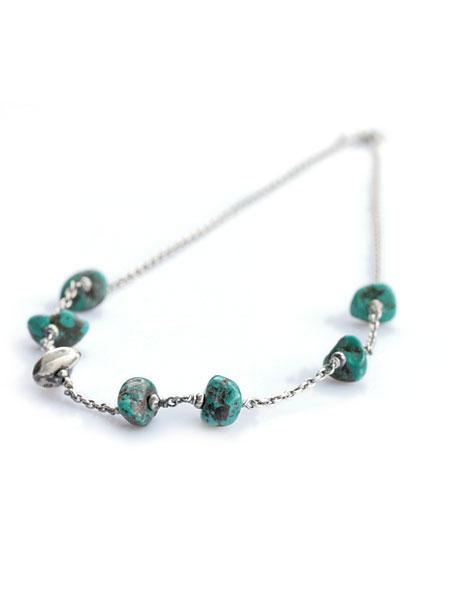 【※ポイント5倍※】SunKu(サンク・39)Turquise Chain & Beads Necklace / [SK-026-Taq] ターコイズチェーン ビーズネックレス ペンダント シルバー グリーン 緑 銀 天然石 宝石 メンズ レディース【送料無料】