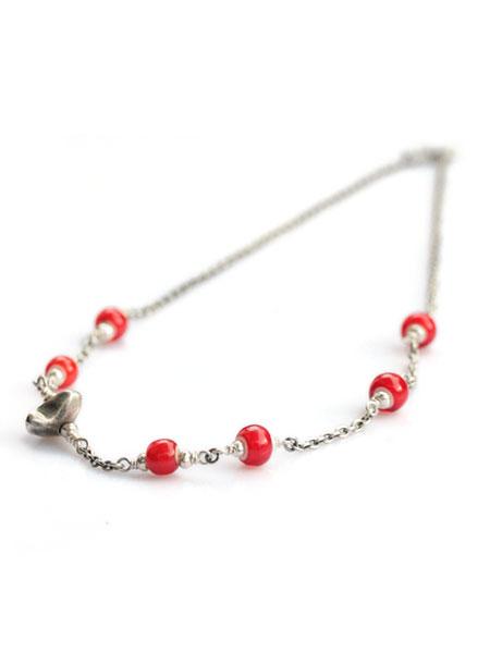 【※ポイント5倍※】SunKu(サンク・39)Antique Beads Chain & Beads Necklace / [Sk-026-Red] アンティークビーズ チェーン ビーズネックレス ペンダント シルバー ホワイトハーツ レッド 赤 銀 天然石 宝石 メンズ レディース【送料無料】