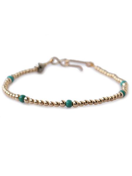 【※ポイント5倍※】SunKu(サンク・39)Small Beads Bracelet (Gold Plate) / [SK-121] スモールビーズブレスレット ゴールド ターコイズ グリーン 緑 金 天然石 宝石 メンズ レディース【送料無料】