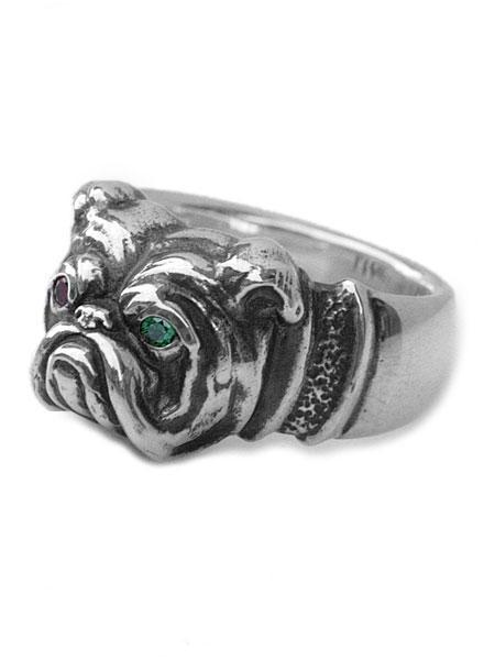 【※ポイント5倍※】PEANUTS&CO.(ピーナッツ&カンパニー)Bull Dog Ring (Silver) / ブルドック リング シルバー ルビー エメラルド グリーン レッド ピンク 天然 宝石 指輪 緑 赤 桃色 犬 動物 925 メンズ レディース【送料無料】