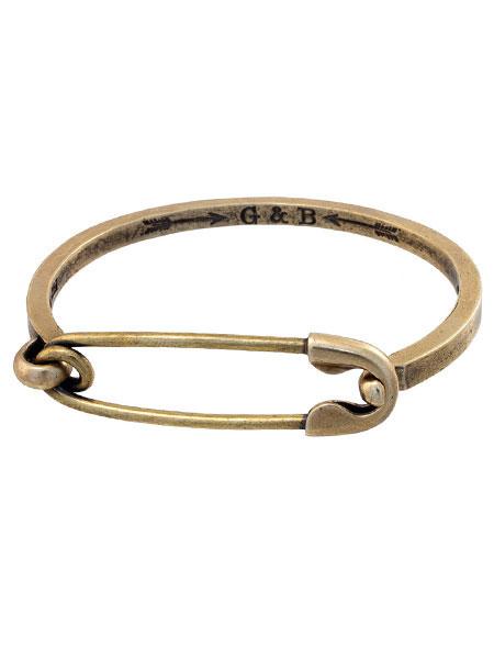 【※ポイント5倍※】GILES & BROTHER(ジャイルス・アンド・ブラザー)Safety Pin カフブレスレット / セーフティーピン 安全ピン バングル アンティークゴールド ブラス 真鍮 金 メンズ レディース【送料無料】