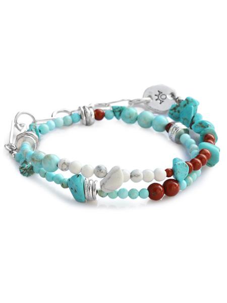 TSUNAIHAIYA (ツナイハイヤ)【Colorfield Beads Bracelet 3 (ターコイズミックス) カラーフィールドビーズブレスレット】[正規品](2連/天然石/宝石/シルバー/トルコ石/グリーン/ホワイト/緑/白/銀/925/ギフト/プレゼント/ユニセックス/メンズ/レディース)【送料無料】