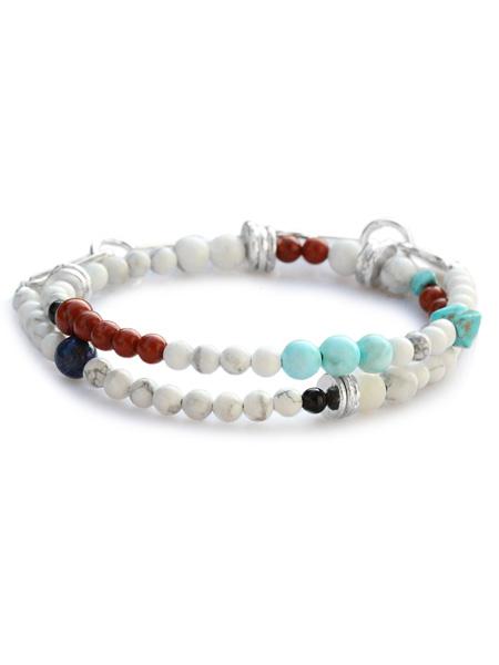 TSUNAIHAIYA(ツナイハイヤ)【Colorfield Beads Bracelet 3 (マグネサイトミックス) カラーフィールドビーズブレスレット】[正規品](2連/天然石/宝石/シルバー/ターコイズ/ブルー/ホワイト/白/青/緑/銀/925/ギフト/プレゼント/ユニセックス/メンズ/レディース)【送料無料】