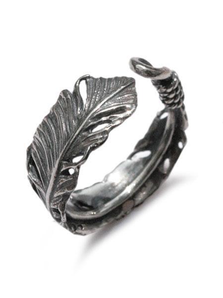 【※ポイント5倍※】Garden of Eden(ガーデン オブ エデン)Feather Ring [ED-15NS-R03s] フェザーリング / シルバー フリーサイズ 銀 羽根 925 ピンキー 調節可能 ペア ユニセックス メンズ レディース【送料無料】