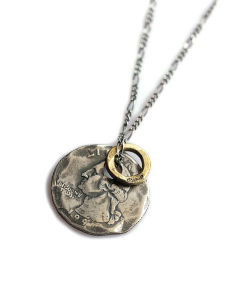 736d73731332f BELIEVEINMIRACLE (biReeve in miracle) INGOD NC in god necklace / coin  pendant antique gold circle charm hammer Figaro chain sterling silver coin  ...