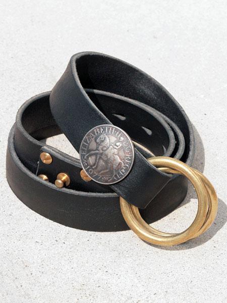 BELIEVEINMIRACLE(ビリーブインミラクル)【W RING BELT ダブルリングベルト (ブラック)】[正規品](レザー/イタリア製牛革/アンティークゴールド/ブラス/黒/真鍮/プレゼント/メンズ)【送料無料】
