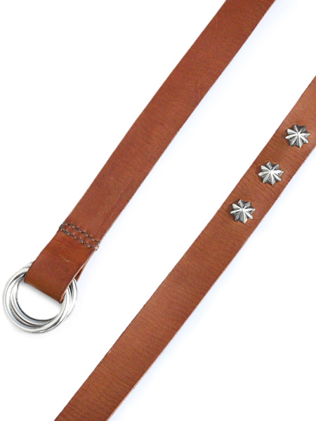 BELIEVEINMIRACLE(ビリーブインミラクル)【ITALY LONG LEATHER BELT SILVER CONCHO(BROWN) イタリアロングレザーベルト シルバーコンチョ(ブラウン)】[正規品](高級イタリア製牛革/ダブルリング/スターリングシルバー/銀/茶色/925/ギフト/プレゼント/メンズ)【送料無料】