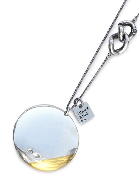 ON THE SUNNY SIDE OF THE STREET(オン ザ サニー サイド オブ ザ ストリート)【Silver & K18GP 30mm Button Necklace シルバー & ゴールドプレート ボタンネックレス】[正規品](ロングチェーン/ペンダント/銀/金/プレゼント/ユニセックス/メンズ/レディース)【送料無料】