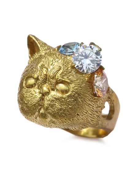 【※ポイント5倍※】HOASHI YUSUKE(ホアシユウスケ)【頭の中のキラキラ 猫のリング エキゾチックショートヘア (Brass)】[正規品](指輪/ネコ/キャット/動物/アニマル/宝石/カラフル/アンティークゴールド/真鍮/金/ギフト/プレゼント/レディース)【送料無料】