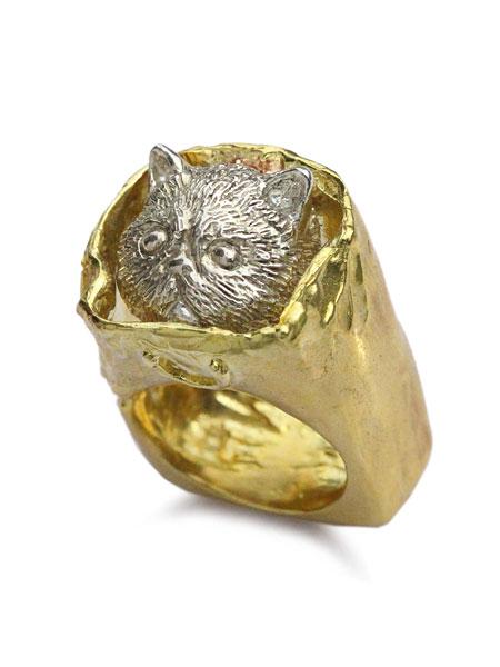 【※ポイント5倍※】HOASHI YUSUKE(ホアシユウスケ)【ダダ 紙袋に入った猫のリング (ゴールド × シルバー)】[正規品](指輪/ネコ/キャット/スクエア/四角/金/銀/真鍮/925/ギフト/プレゼント/レディース)【送料無料】