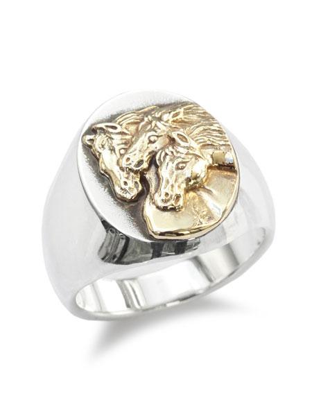 【※ポイント5倍※】PEANUTS&CO.(ピーナッツ&カンパニー)【PHARAOHS HORSES RING OVAL (L / Silver × K10 Gold) / ファラオホースリングオーバル(シルバー × K10ゴールド) 】[正規品](指輪/金/シルバー925/銀/プレゼント)【送料無料】
