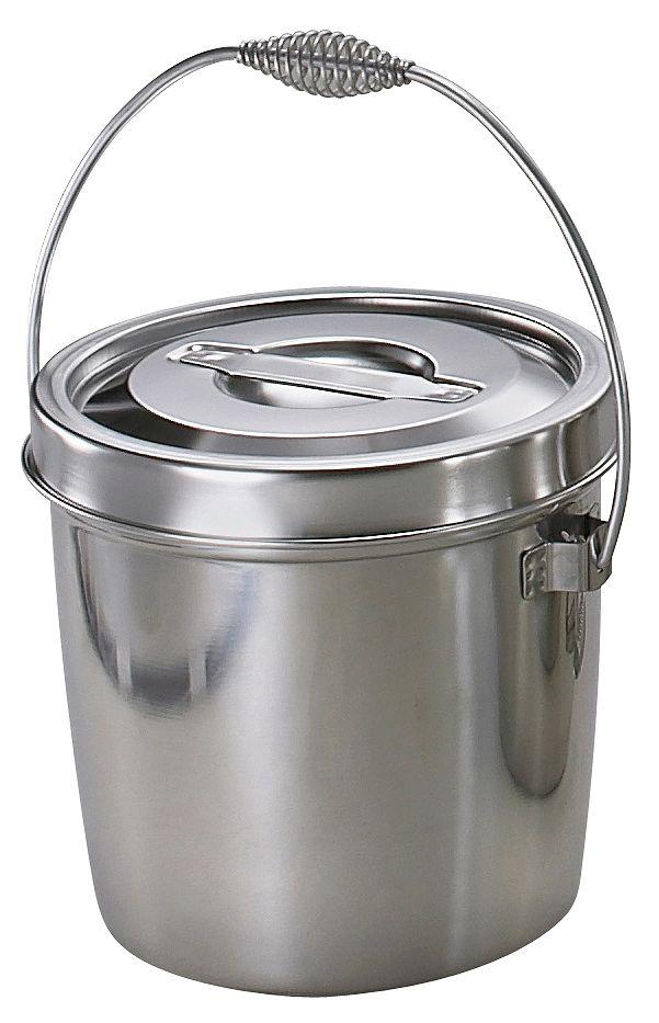 ( 送料無料 ) 【 給食 厨房用 】 オールステンレス ダブル汁食缶6L 【 ステンレス バケツ 】