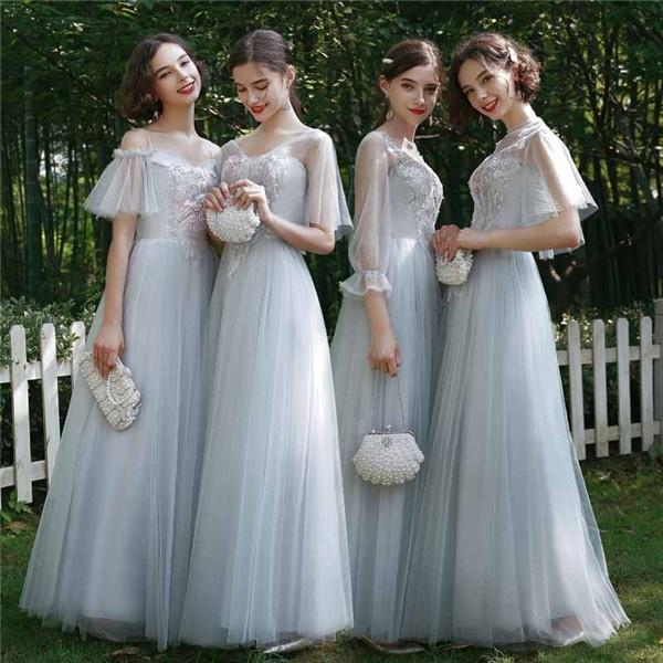 ブライズメイド ドレス ロングドレス パーティードレス グレー 締め上げタイプ 袖あり 演奏会用ドレス 大きいサイズ ワンピース 大人 上品 フォーマルドレス 結婚式 ミセス フォーマル ワンピース 結婚式 ドレス 大人 ピアノ 発表会df061l6l6x2