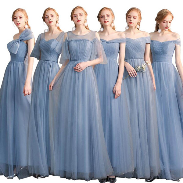 【サイズ有S/M/L/XL/2XL】ブライズメイド ドレス ロング ブルー 6タイプ お揃いドレス お呼ばれドレス パーティードレス 結婚式 ドレス ワンピース ロングドレス 演奏会 ドレス ピアノ 発表会 ドレス オフショルダードレス 結婚式 20代 30代/代引き不可