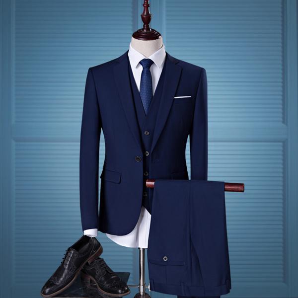 フォーマル スーツ ベスト付き 長袖 ビジネススーツ ジャケットスーツ 1ツボタン スリムミニマリスト 男性用 リクルートスーツ 卒業式スーツ 面接 入学式 花婿スーツ メンズスリムスーツ 3点セット 紺 dg335d3c6kc /代引き不可
