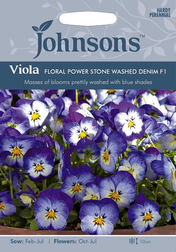 ストーンウォッシュデニムのような美しいブルー 輸入種子 人気 おすすめ Johnsons Seeds Viola FLORAL POWER STONE WASHED デニム F1 フローラル DENIM ストーン パワー ヴィオラ ウォッシュ ジョンソンズシード 超人気 専門店