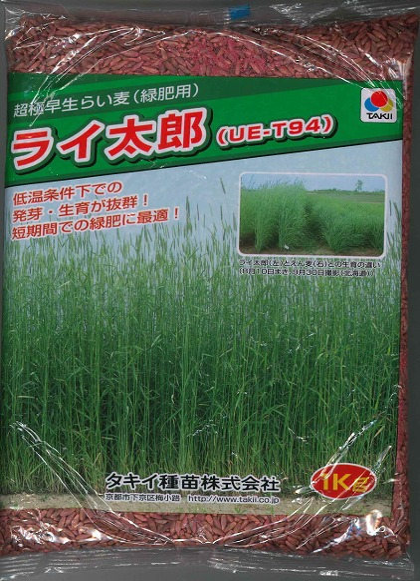 ショッピング 冬場の土壌改良に最適 販売 種子 超極早生らい麦 ライ太郎お徳用 1kg入り大袋タキイ種苗のタネ