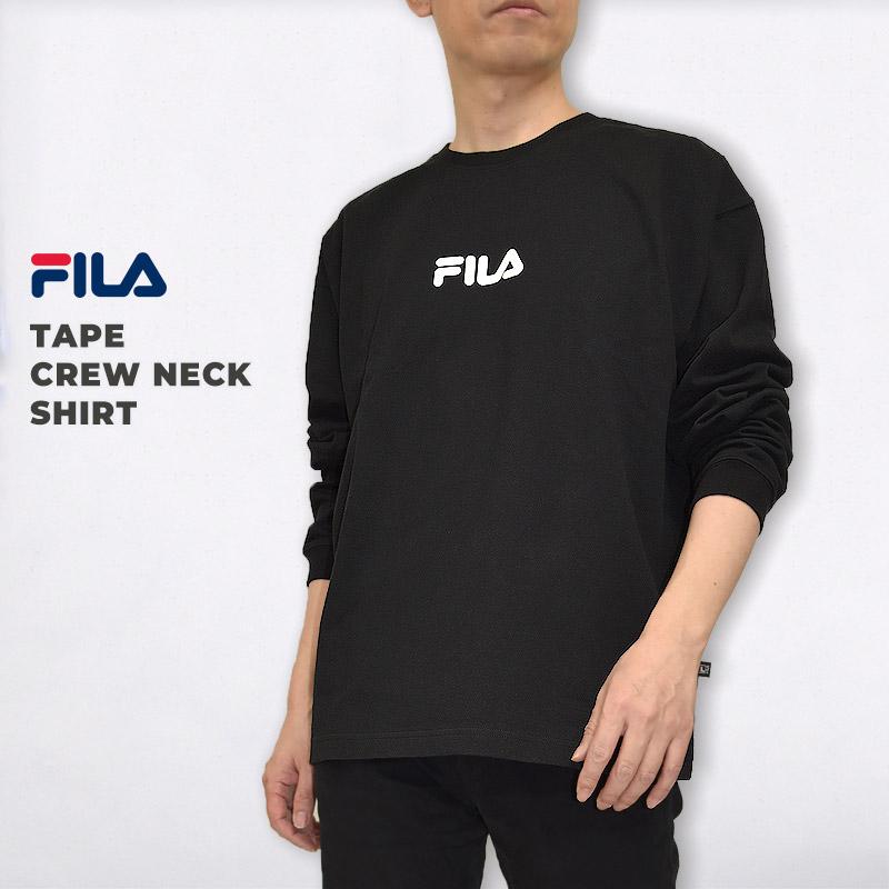 クルーネック 引出物 トレーナー ブラック FILA フィラ メンズ レディース スウェット セール品 黒 CREW FM9835 トップス ウエア カジュアル SHIRT NECK