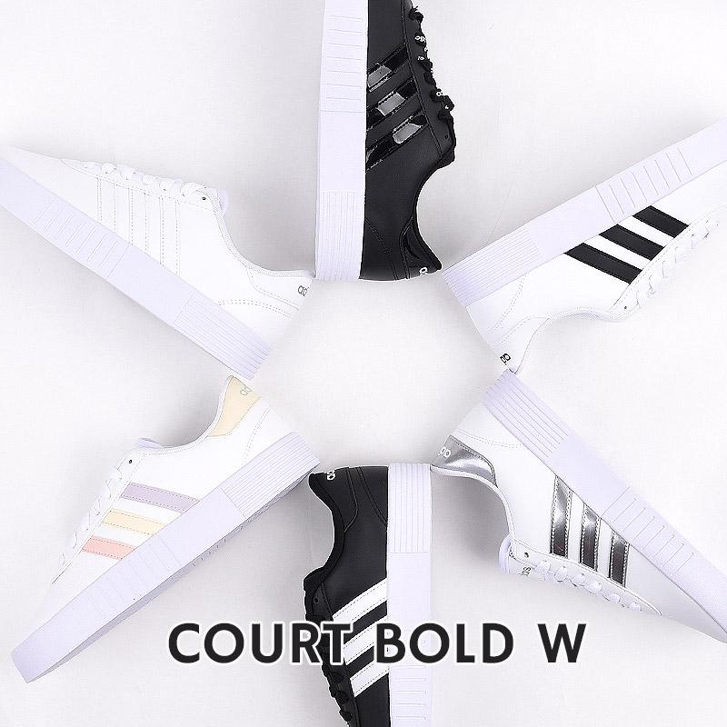 レディース スニーカー ホワイト ブラック アディダス adidas カジュアル シューズ 靴 ファッション 新色追加して再販 ランキング総合1位 COURT FX3490 FY7795 BOLD GZ2694 白 黒 FY9993 GZ2696 W FX3488