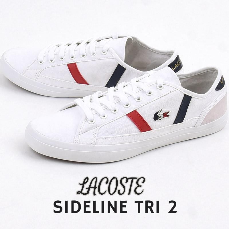 ロゴ スニーカー ホワイト ラコステ lacoste メンズ カジュアル 格安激安 シューズ 白 キャンバス 正規品 SIDELINE TRI 靴 CMA045L ファッション 2