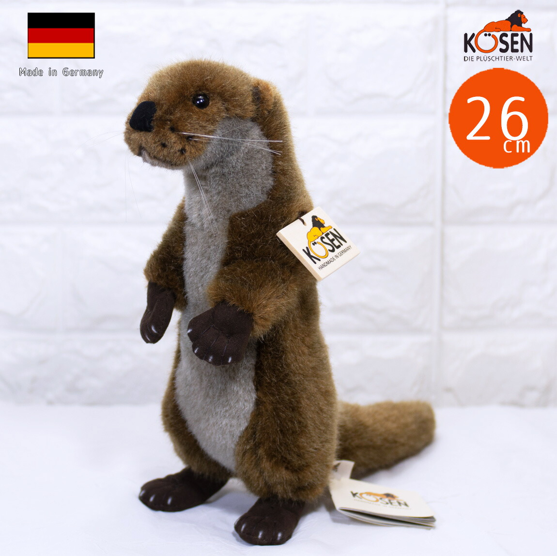 """ケーセン ぬいぐるみ kosen ヨーロッパカワウソ(小) 立ち 26cm """"Otti"""" Otter リアル 動物 コツメカワウソ"""