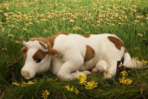 うし 伏せ 茶白 KOSEN(ケーセン社) 39cm Cow, Lying/ぬいぐるみ プレゼント/リアル/動物/ギフト/子供/女の子/男の子/大人/クリスマス