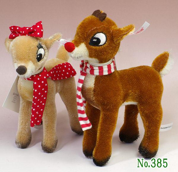 シュタイフUSA限Rudolph & Clarice(赤鼻のトナカイ ルドルフ&クラリス) テディベア ぬいぐるみ 誕生日 プレゼント 内祝い ギフト クリスマス