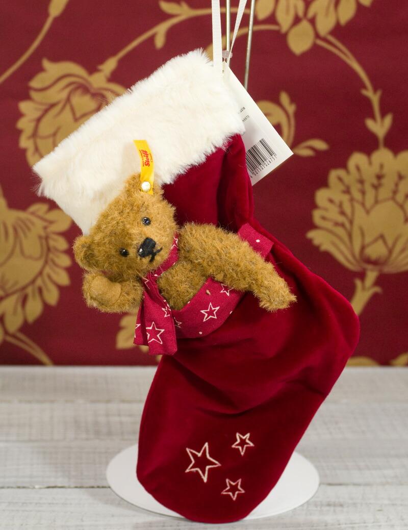 シュタイフ テディベア Steiff テディベア with ストッキング15cm(Teddy Bear with Christmas stocking) ぬいぐるみ プレゼント