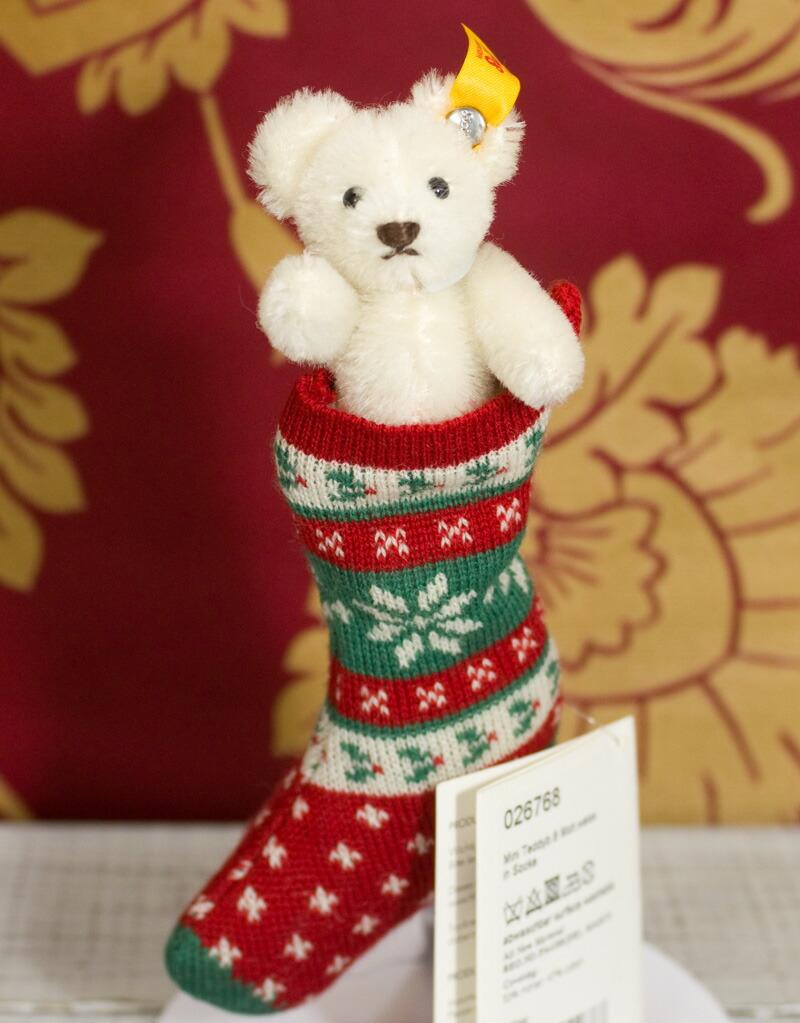 Steiff シュタイフ ミニテディベア in ソック8cm ホワイト(MINI TEDDY BEAR IN SOCK) ぬいぐるみ プレゼント 誕生日 ギフト クリスマス