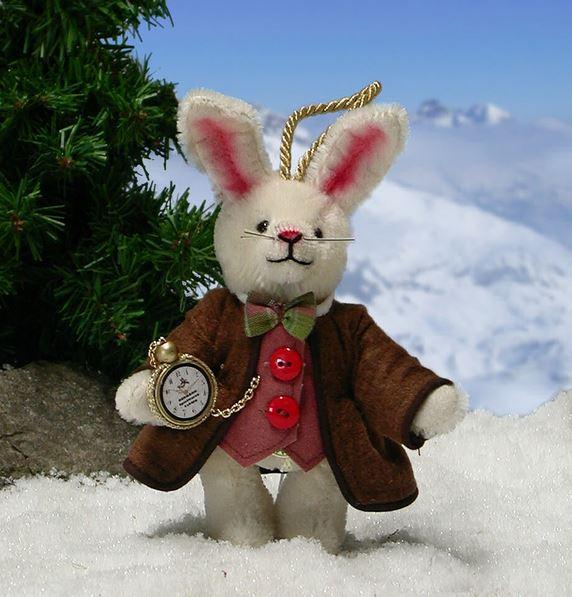 白ウサギ 緑ハーマン社テディベア
