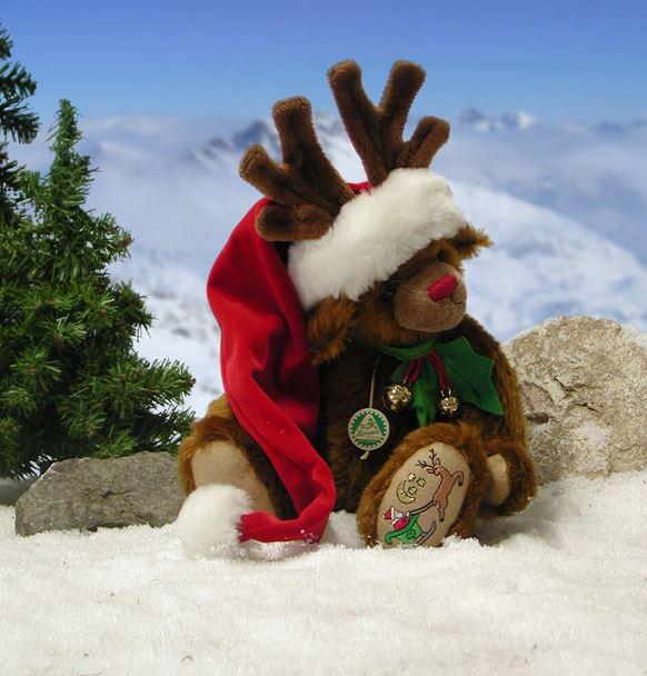 サンタさんのトナカイ 緑ハーマン社テディベア