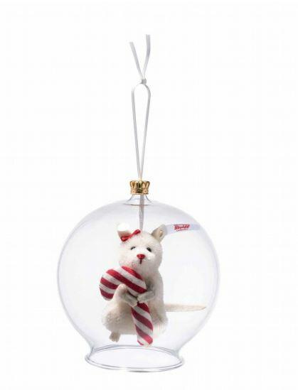 Steiffシュタイフ 世界限定キャンディーケーン in ボーブルオーナメント  Candy Cane mouse in bauble ornament テディベア プレゼント リアル ぬいぐるみ クリスマス