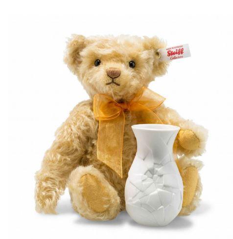 シュタイフ テディベア Steiff 世界限定サンフラワーテディベア with ローゼンダール社花瓶 24cm Steiff Sunflower Teddy bear with Rosenthal