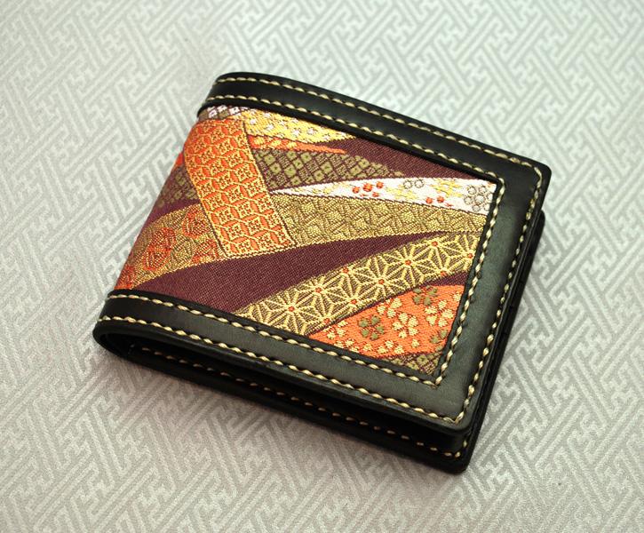 【鬼会】【金襴】【牛革】和柄二つ折財布(束ね熨斗文様)