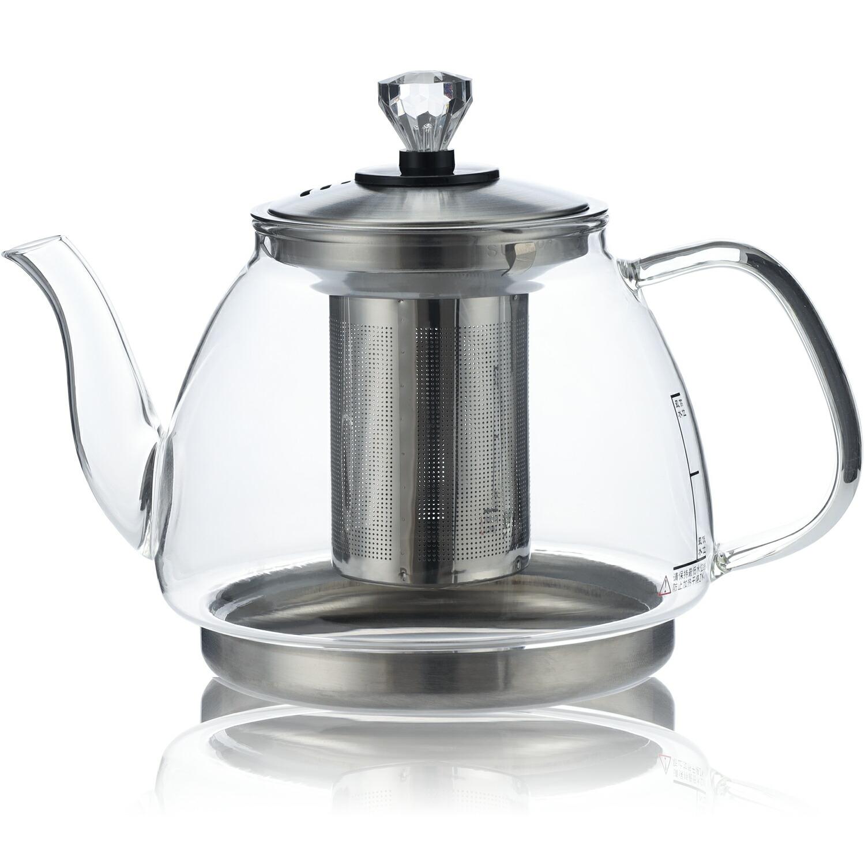 「IH・直火対応」1300ml 茶葉が広がりやすいような大きい茶こしのティーポットです。リーフティーポット・クリア ティー用品 送料無料 IwaiLoft 直火 IH対応 耐熱ガラス やかん ティーポット 大 上質な304SUSステンレス製茶こし付き ガラスポット ジャンピング 紅茶ポット フルーツティー 花茶 リーフティーポット