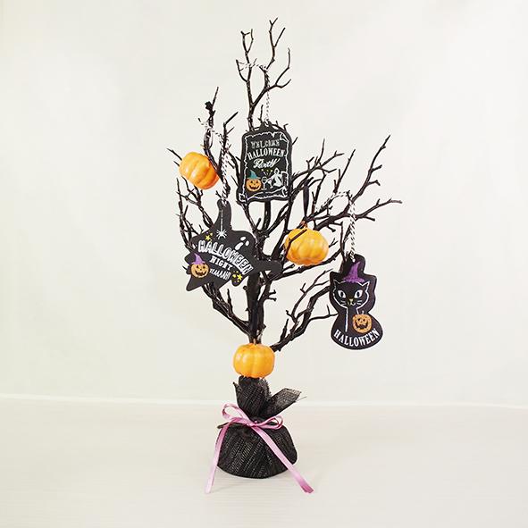 【飾れる】ハロウィンツリー【カボチャ】【DIY ハロウィン ハロウィーン カボチャ かぼちゃ インテリア オブジェ ディスプレイ 置物 飾り 装飾 オレンジ ねこ 猫 ネコ 黒 木 ナチュラル 雑貨 手作り ハンドメイド お祝い】