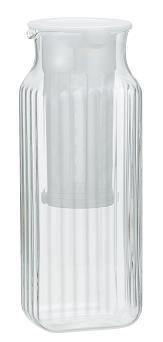 牛乳パックと同じ幅で冷蔵庫にすっきり収まる角型 水出し緑茶も作れます iwaki イワキ 茶漉し付角型サーバー 麦茶入れ 耐熱ガラス 卓抜 ホワイト イワキガラス 売買 冷水筒