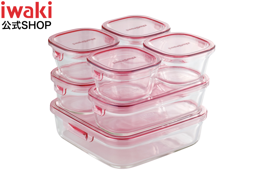【30%OFF】iwaki 保存容器 パック&レンジ 7点セット耐熱ガラス おしゃれ 安い  つくリおき 冷凍 から 電子レンジ オーブン まで