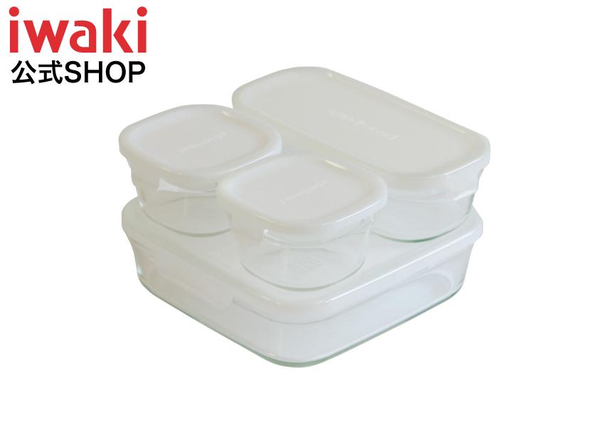 メーカー公式 一度使ったら手放せなくなる使いやすさが自慢です 作り置きにぴったりiwaki イワキ パックレンジ システムセット ミニ ホワイト 常備菜 割引 おしゃれ 耐熱ガラス OUTLET SALE ガラス 保存容器 乳白色 保存 白