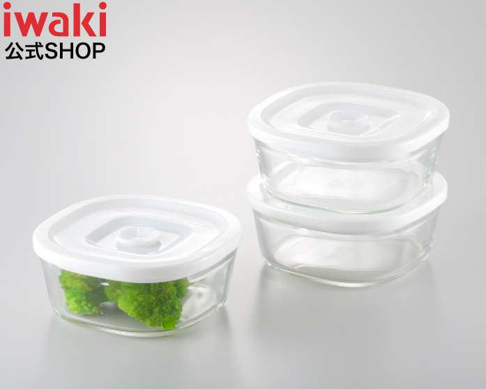 密閉なのに フタをしたままレンジOK NEW 簡単密閉 iwaki イワキ 密閉パック 本物 レンジ 角型 同サイズ 3点セット ガラス つくおき 白 作り置き 保存 常備菜 耐熱ガラス おしゃれ 高級 もちより ホワイト