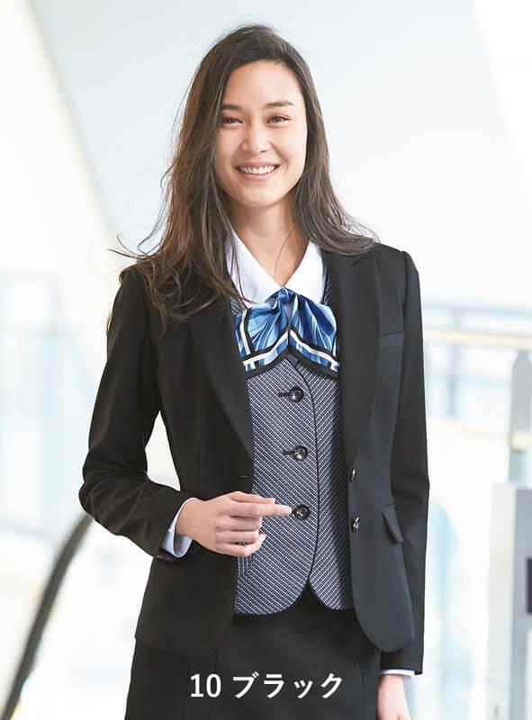 ジャケット ネイビー 紺 チャコールグレー ブラック 黒 5-19号 制服 オフィス 事務 事務服 企業制服 レディース