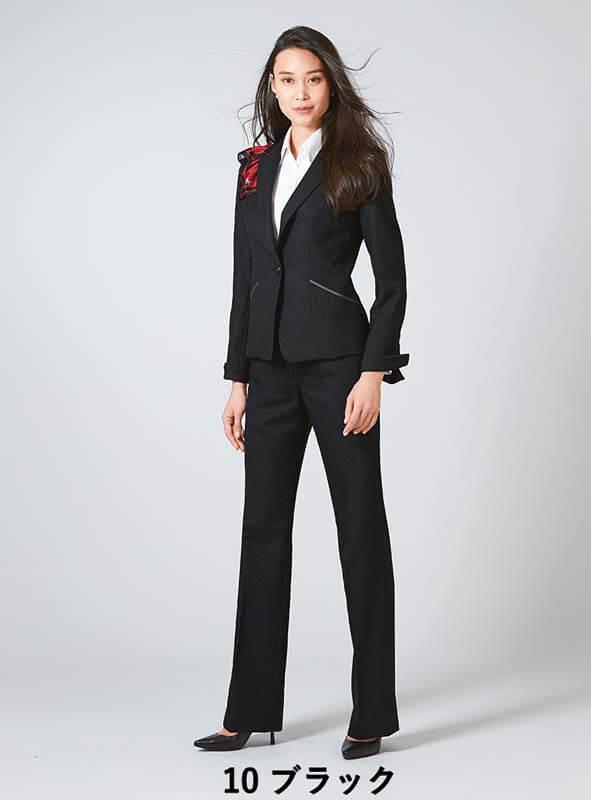 パンツ フレアストレート ドット グレー ブラック 黒 5-23号 制服 オフィス 事務 事務服 企業制服 レディース