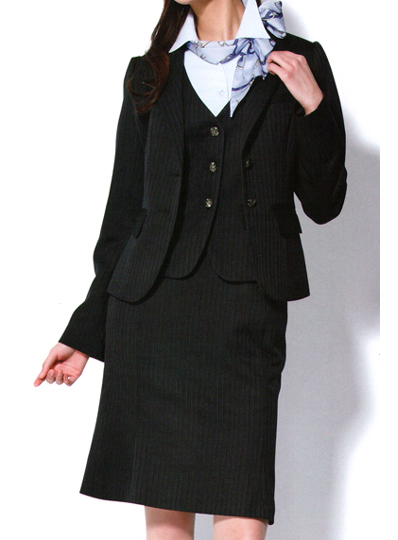 【LINE追加で5%OFFクーポン配布中】ジャケット ストライプ 5-17号 制服 オフィス 事務 事務服 企業制服 レディース オフィスユニフォーム ビジネス